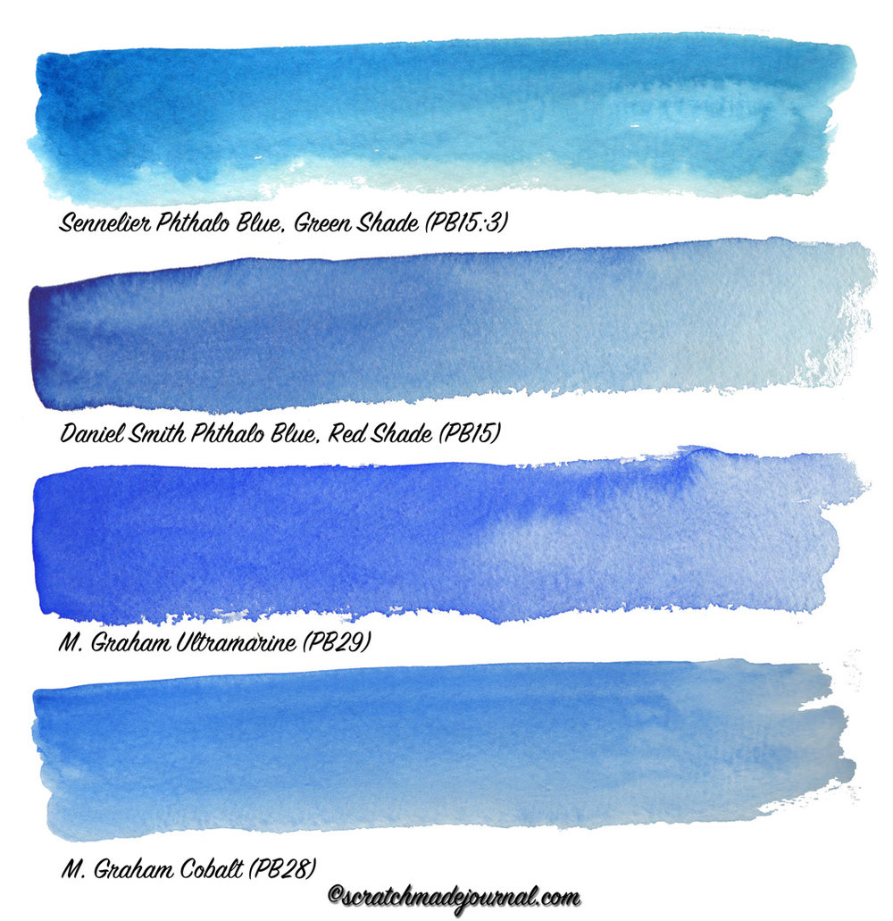 Comparing blue watercolors: Phthalo vs Ultramarine vs Cobalt - scratchmadejournal.com