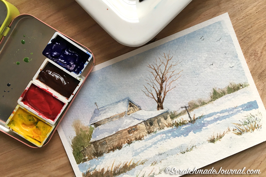 My favorite 4-color watercolor palette for landscapes & nature sketching - scratchmadejournal.com