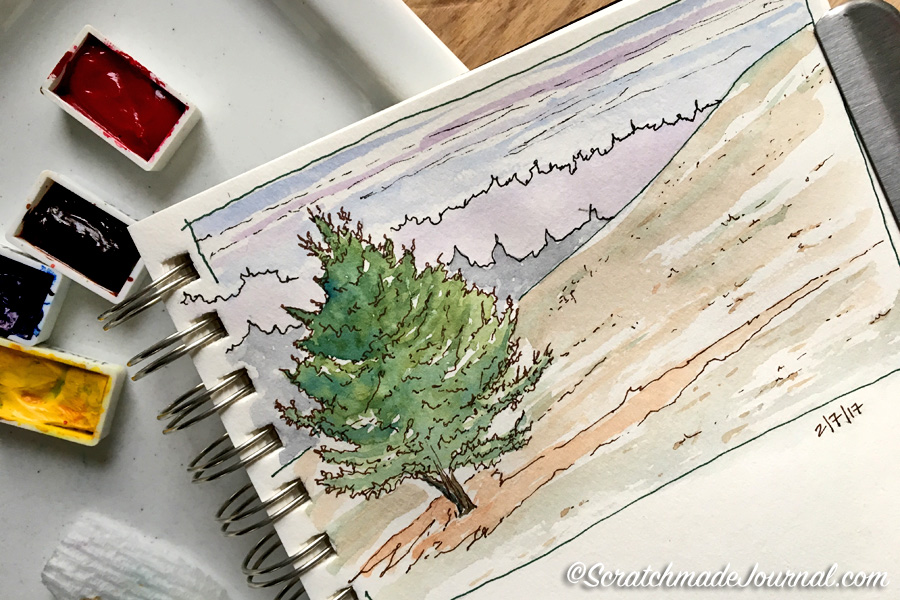 4-color watercolor landscape sketch along with recommended colors and a mixing chart - scratchmadejournal.com