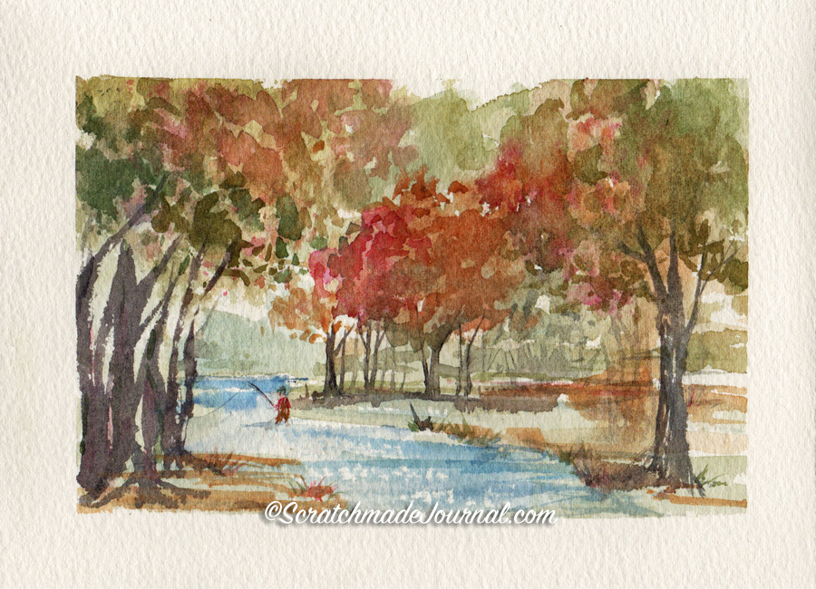 Watercolor landscape with fisherman: An example of yellow ochre in a painting plus information on mixing yellow ochre - scratchmadejournal.com