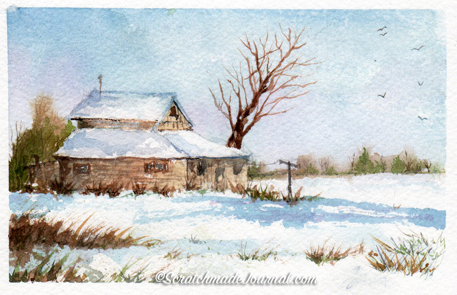 Barn in snow watercolor & more on sketching barns - scratchmadejournal.com