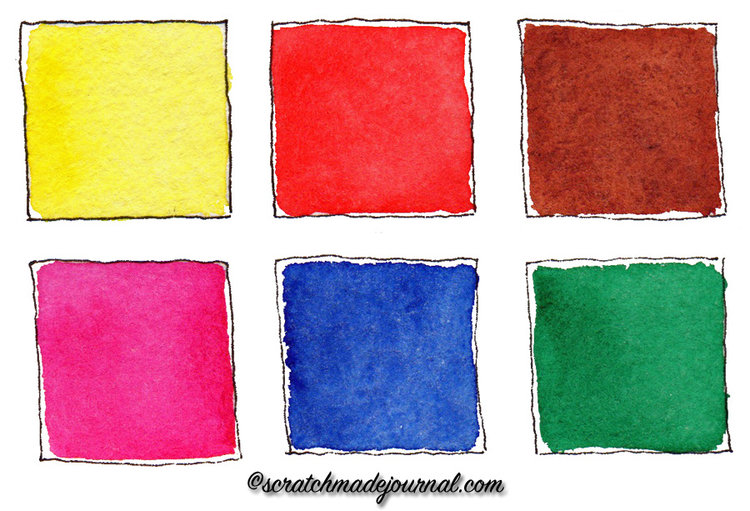 6 color watercolor palette scratchmade journal