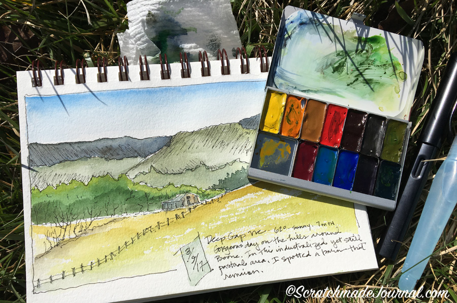 Field sketching with the Expeditionary Art Pocket Palette, plus a full review of the pocket palette's performance - scratchmadejournal.com