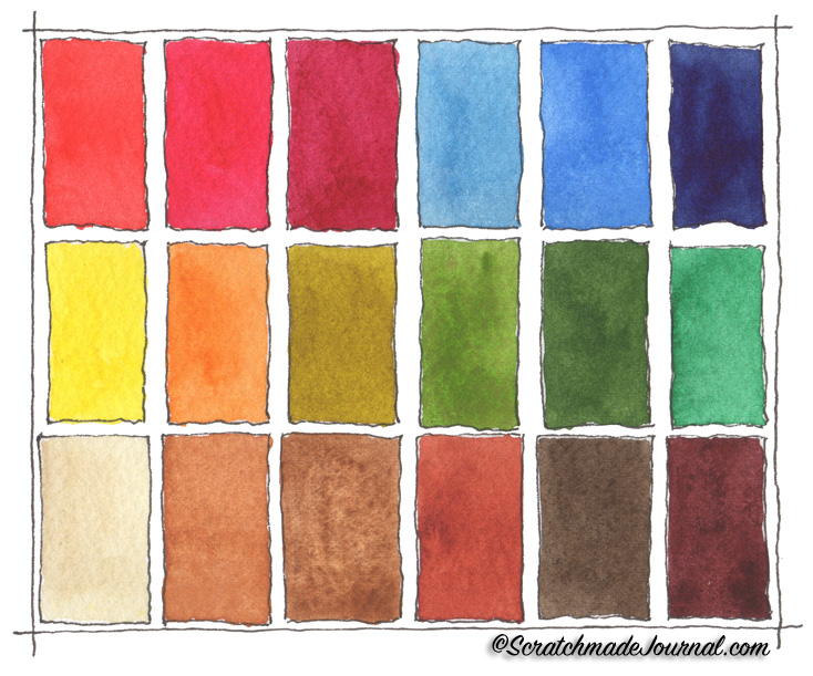 A peek into my 18-color watercolor palette plus a list of the colors - ScratchmadeJournal.com