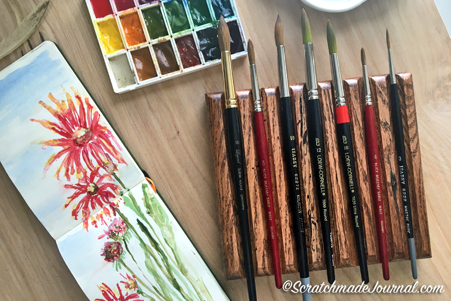 A list of recommended watercolor brushes for beginners and beyond - ScratchmadeJournal.com