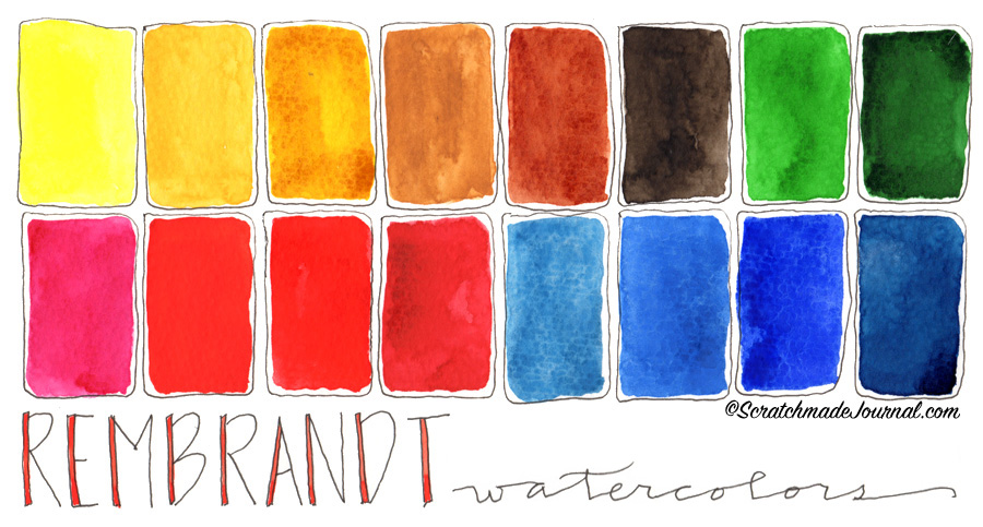 Colors of Rembrandt watercolors in my palette plus a full review of this brand of paints - ScratchmadeJournal.com