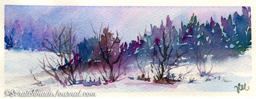 Testing Rembrandt watercolors in a winter landscape plus a full review - ScratchmadeJournal.com
