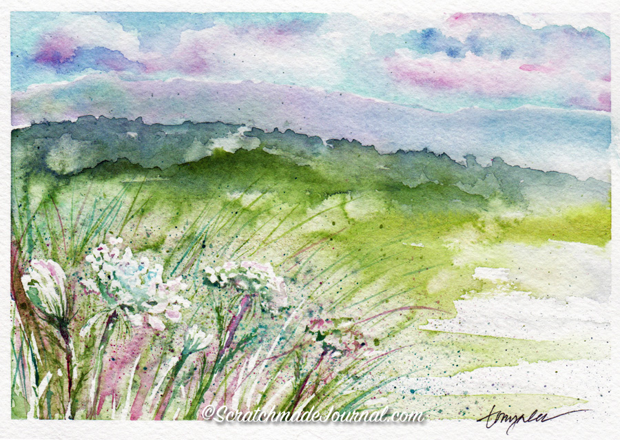 Watercolor mountain field with flowers - ScratchmadeJournal.com
