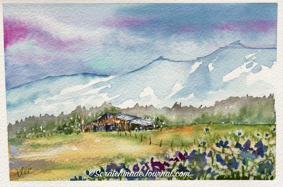 Early spring mountain farm scene with barn in watercolor - ScratchmadeJournal.com
