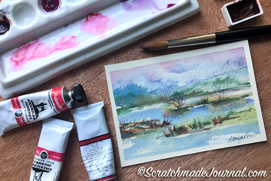 Comparing brands of Quinacridone rose watercolors plus a mixing chart - ScratchmadeJournal.com