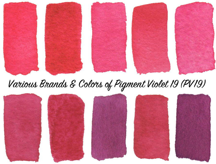 Comparing brands & colors of Pigment Violet 19 (PV19) watercolors - ScratchmadeJournal.com