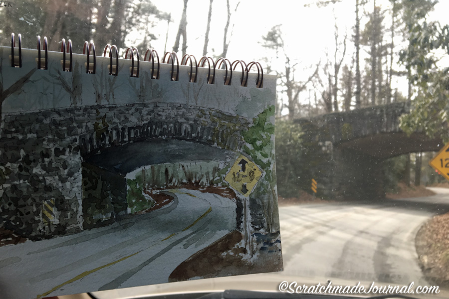 Blue Ridge Parkway bridge watercolor sketch & Strathmore watercolor sketchbook review - ScratchmadeJournal.com
