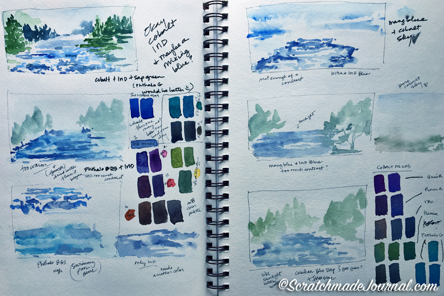 Example sketches & studies in a Strathmore Visual Watercolor Journal - ScratchmadeJournal.jpg