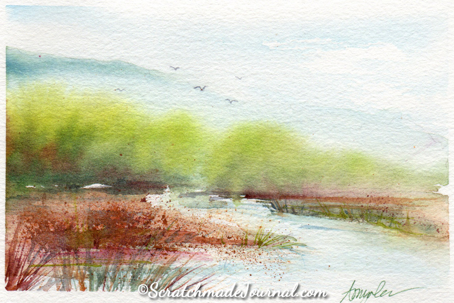 Landscape painting on Hahnemühle watercolor paper - ScratchmadeJournal.com