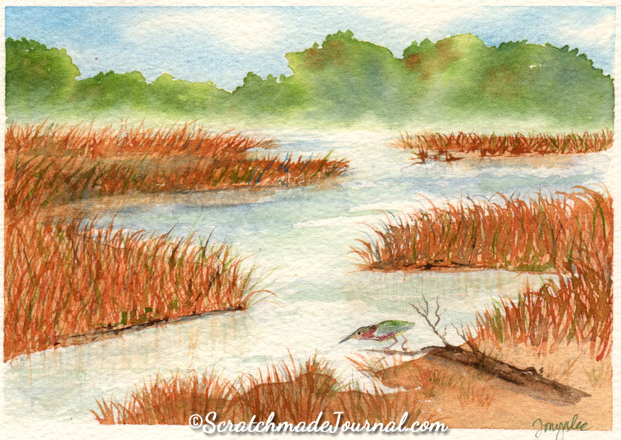 Marsh landscape painting on Saunders Waterford watercolor paper - ScratchmadeJournal.com