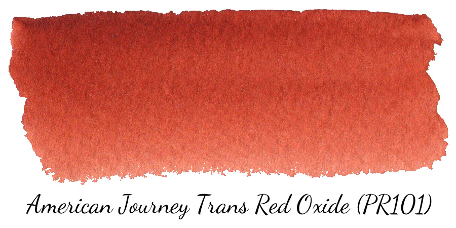 American Journey Transparent Red Oxide (PR101) watercolor swatch - ScratchmadeJournal.com