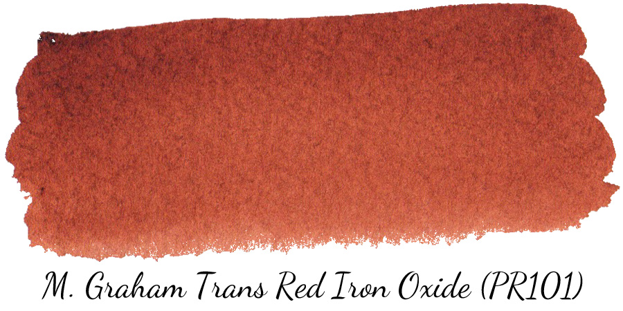 M Graham Transparent Red Iron Oxide (PR101) watercolor swatch - ScratchmadeJournal.com