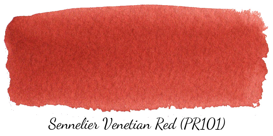 Sennelier Venetian Red (PR101) watercolor swatch - ScratchmadeJournal.com