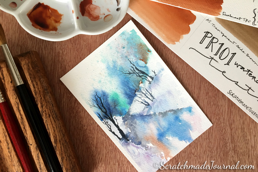 Comparing Transparent Red Iron Oxide (PR101) watercolors plus a mixing chart - ScratchmadeJournal.com