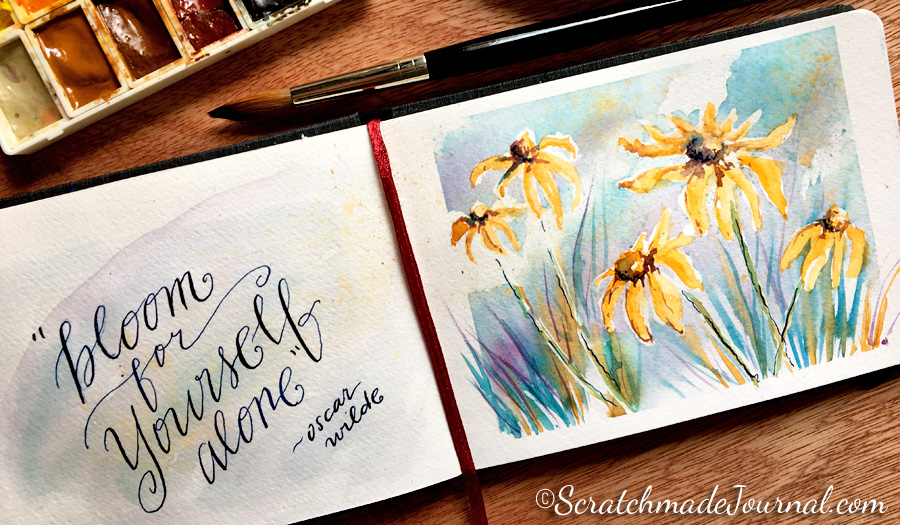 Yellow daisy watercolor with quote in a Hahnemühle sketchbook - ScratchmadeJournal.com