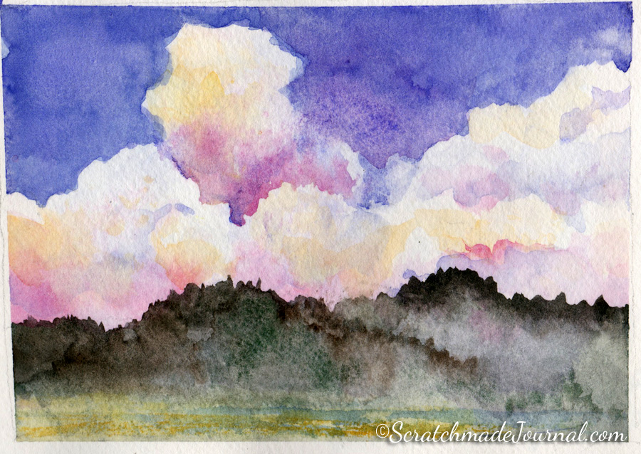 Sunset clouds in the mountains landscape watercolor sketch - ScratchmadeJournal.com