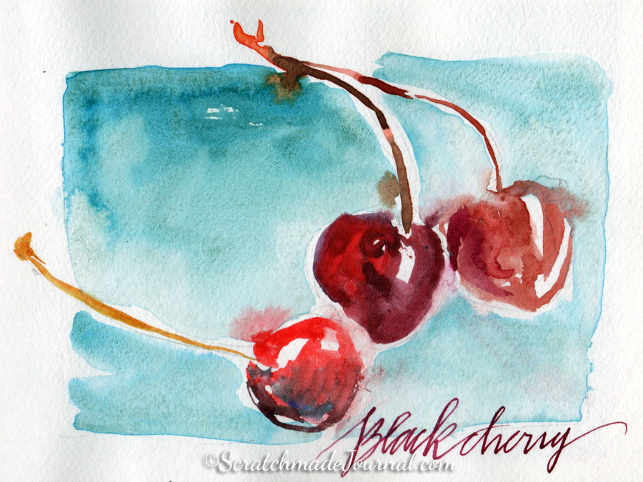 Black cherry watercolor sketch with lettering - ScratchmadeJournal.com