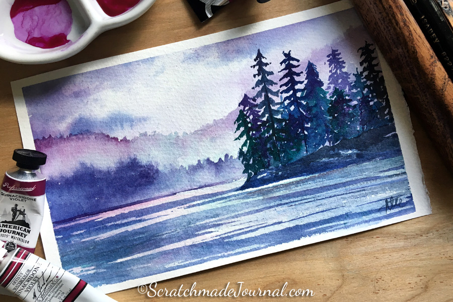 Mountains and lake watercolor landscape - ScratchmadeJournal.com