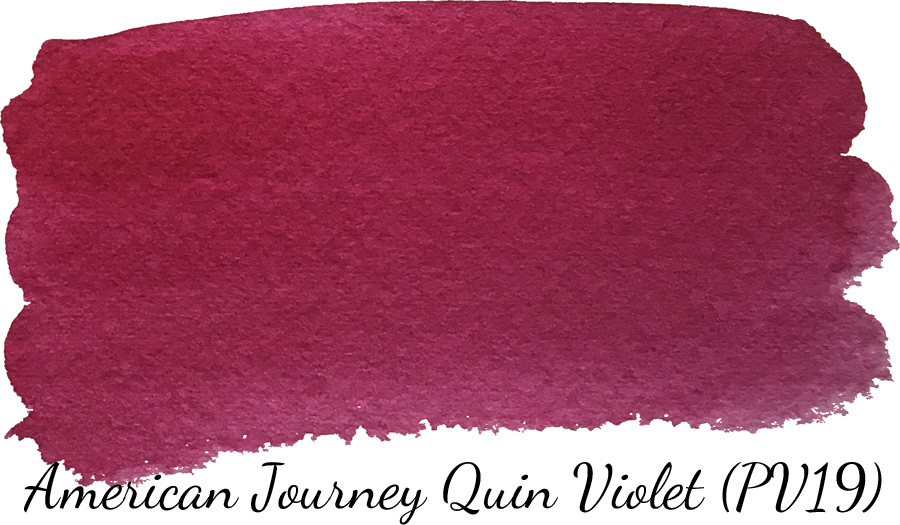 American Journey quinacridone violet watercolor swatch - ScratchmadeJournal.com