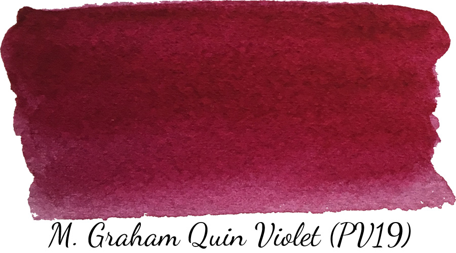 M Graham quinacridone violet watercolor swatch - ScratchmadeJournal.com