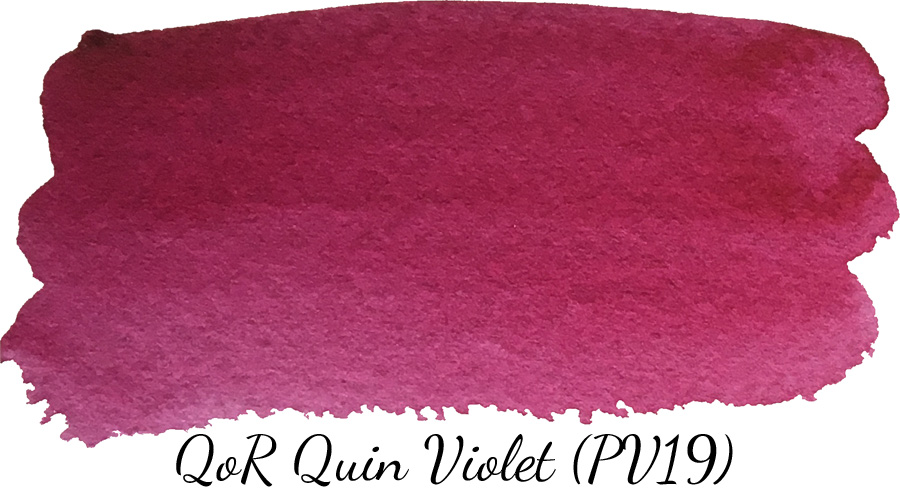 QoR quinacridone violet watercolor swatch - ScratchmadeJournal.com