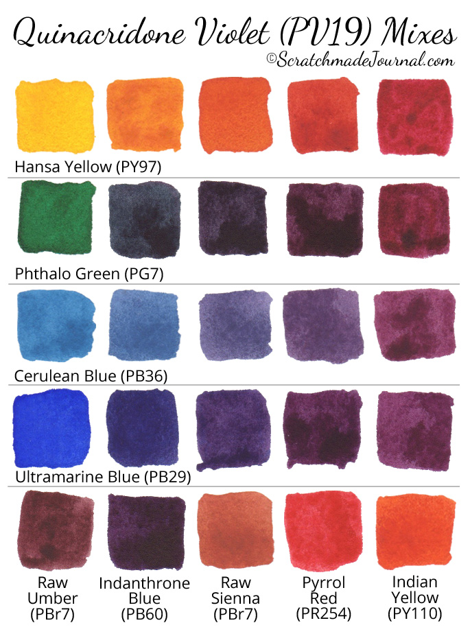 Free printable of quinacridone violet (PV19) watercolor mixing chart - ScratchmadeJournal.com