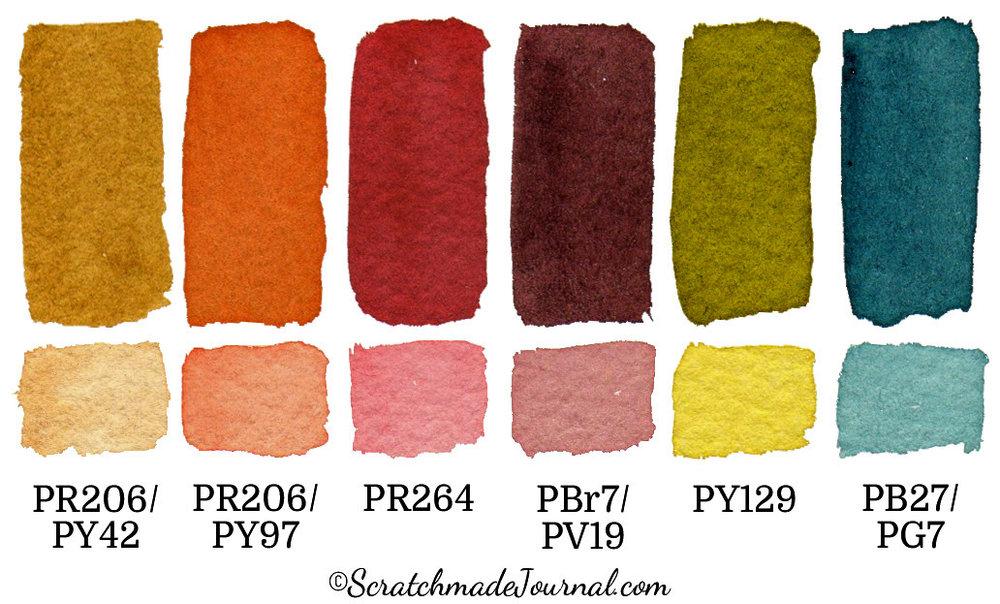 6-color autumn watercolor palette - ScratchmadeJournal.com