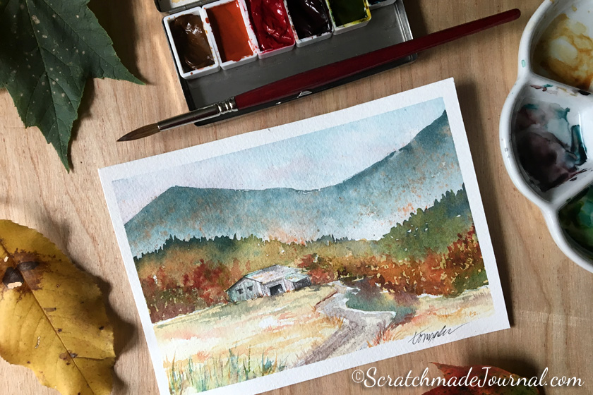 Autumn landscape with barn watercolor - ScratchmadeJournal.com