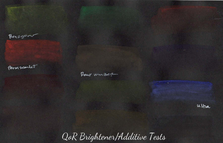 QoR brightener & additive tests - ScratchmadeJournal.com