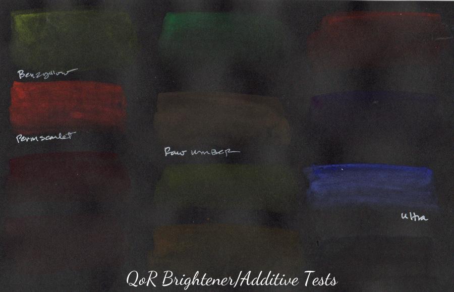 QoR brightener & additive tests - ScratchmadeJournal.com