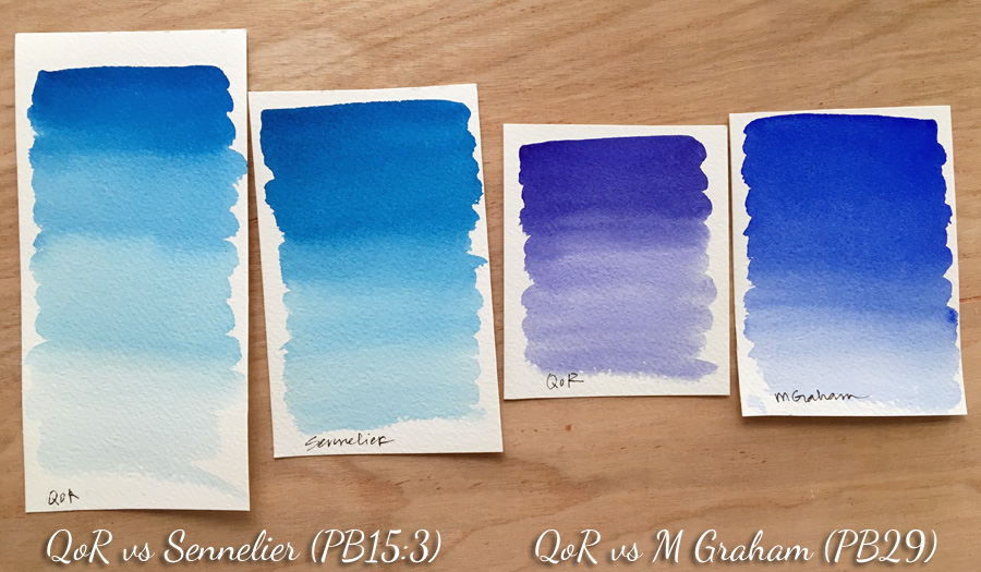 QoR watercolor comparison with other brands - ScratchmadeJournal.com