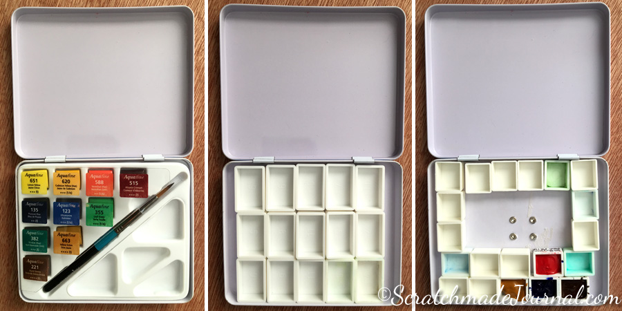 Reorganizing a Daler Rowney Aquafina watercolor tin - ScratchmadeJournal.com