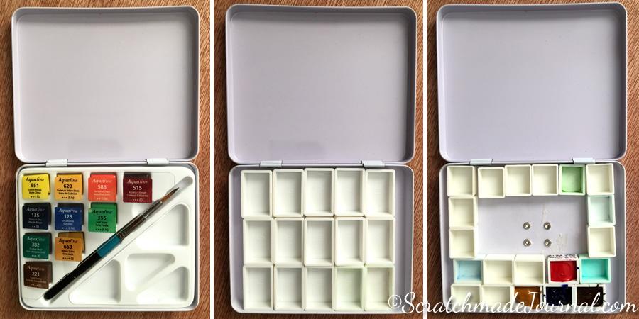 Reorganizing a Daler Rowney Aquafina watercolor tin - ScratchmadeJournal.com