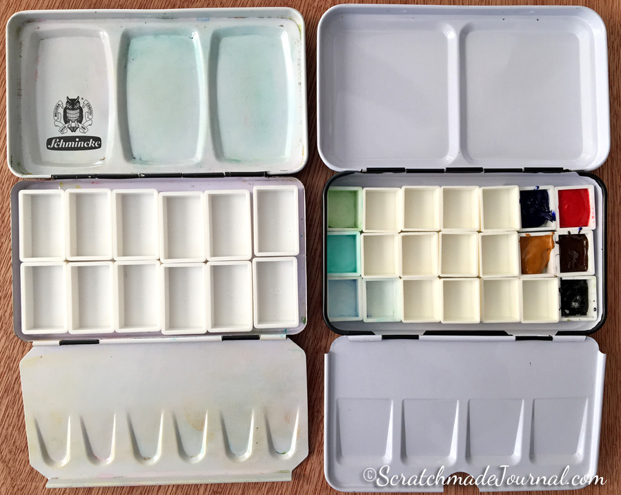 Schmincke standard watercolor tin & how many pans it holds - ScratchmadeJournal.com