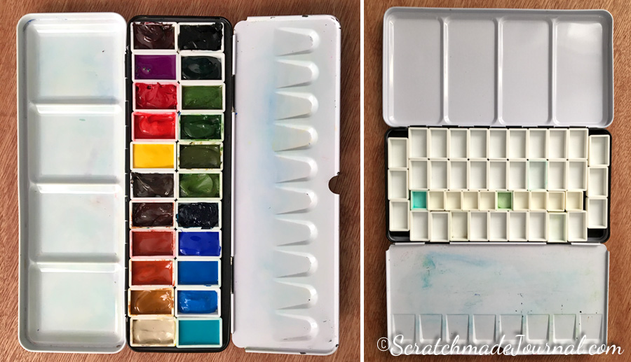 Large metal watercolor tin palettes refitted with extra pans - ScratchmadeJournal.com