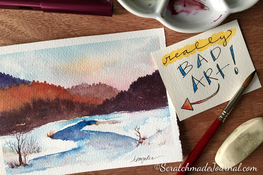 Really bad landscape & advice for what to do when you can't do art - ScratchmadeJournal.com