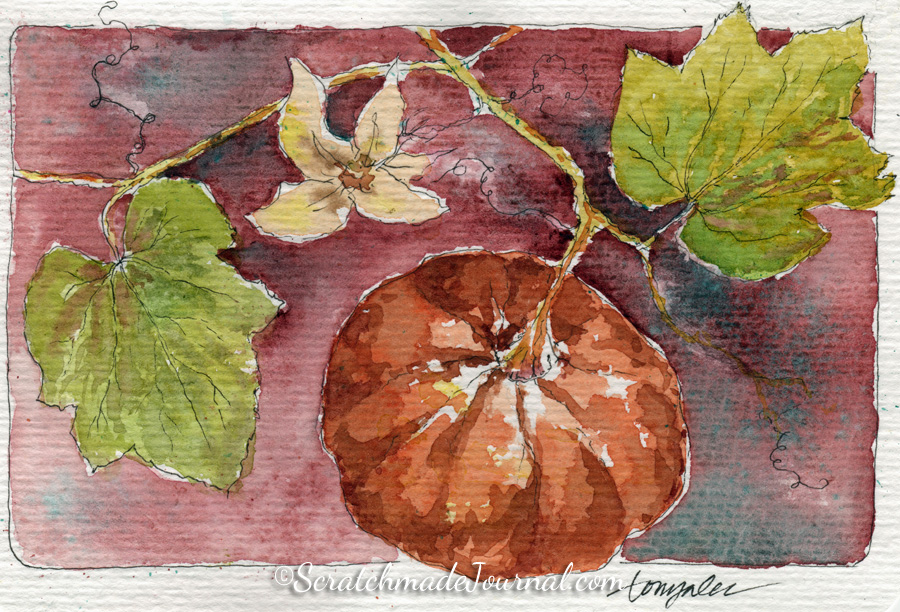 Pumpkin on vine with flower bud watercolor - ScratchmadeJournal.com
