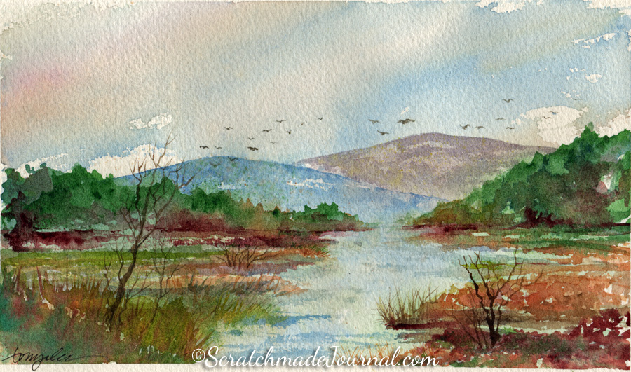 Mountains & stream with migratory birds watercolor landscape - ScratchmadeJournal.com