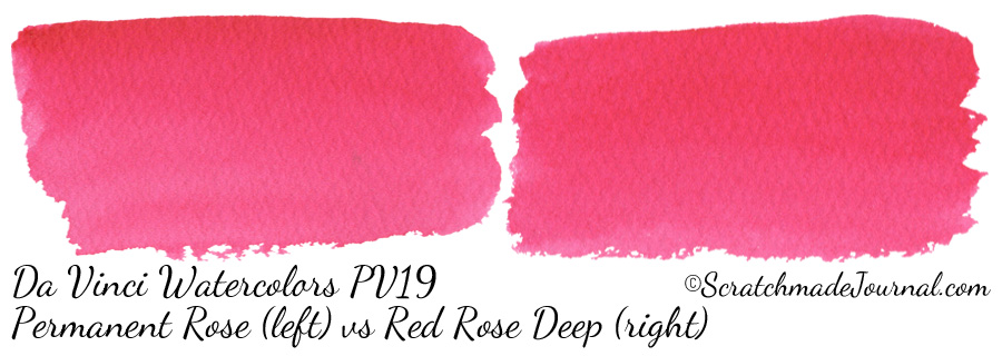 Comparing Da Vinci Watercolors Permanent Rose to Red Rose Deep (Quin PV19) - ScratchmadeJournal.com