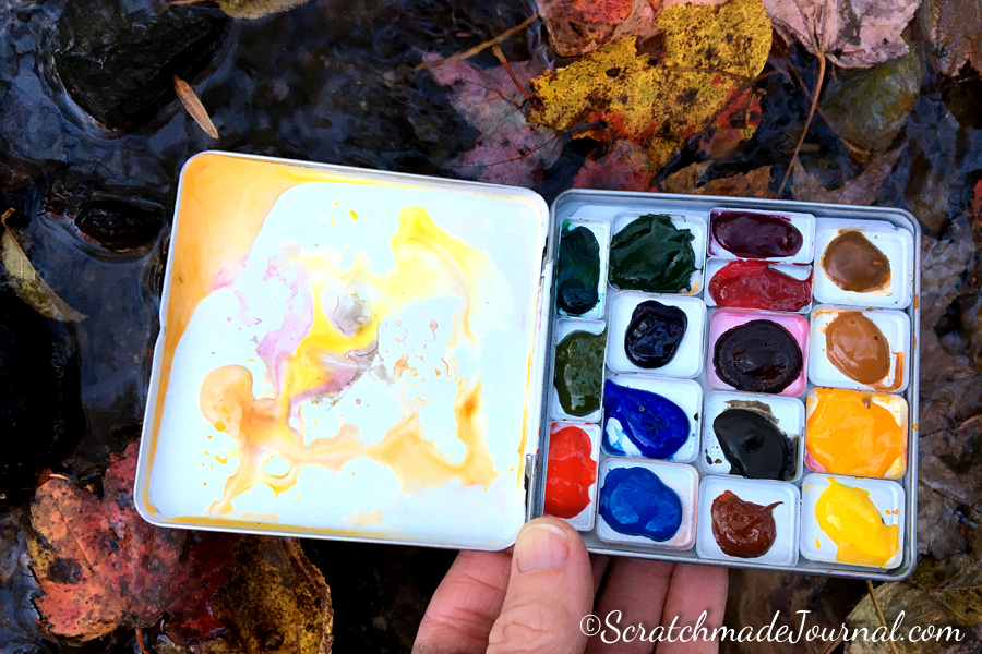 A quick dip in the creek is all it took to clean my Woodward & Father watercolor palette.
