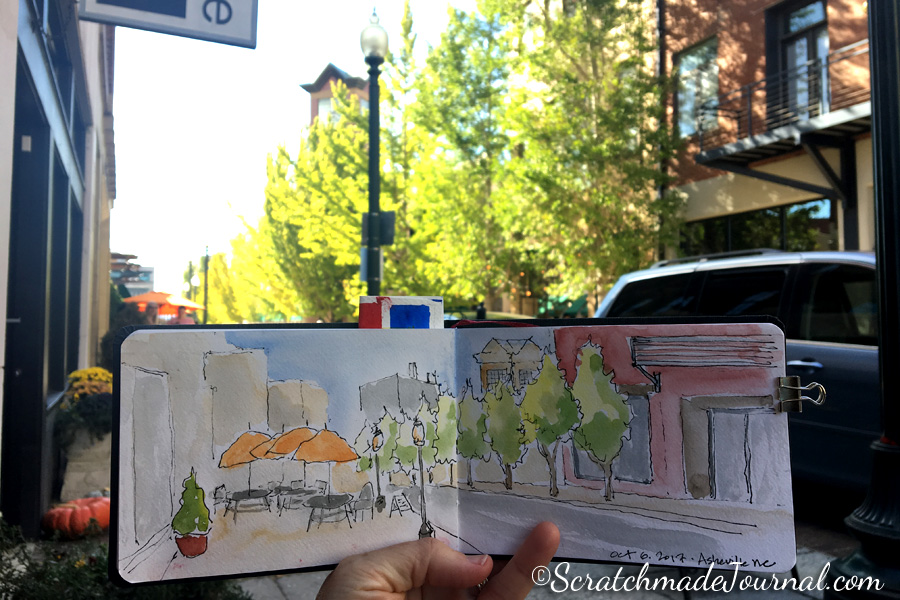 Urban sketching in Asheville NC - ScratchmadeJournal.com