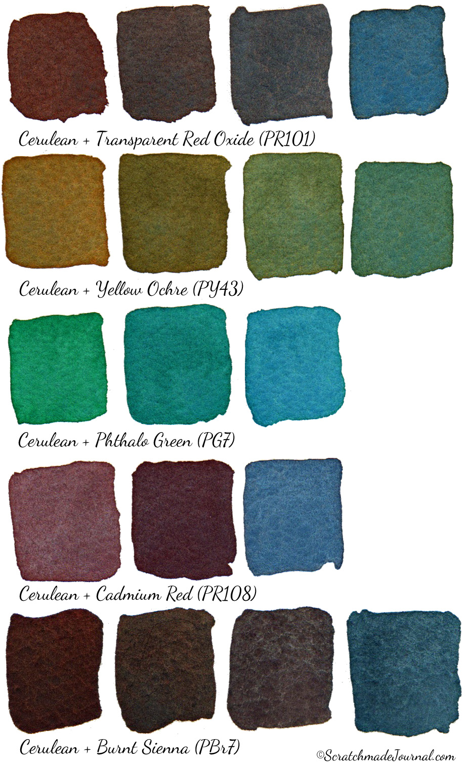 Examples of cerulean blue watercolor mixes - ScratchmadeJournal.com