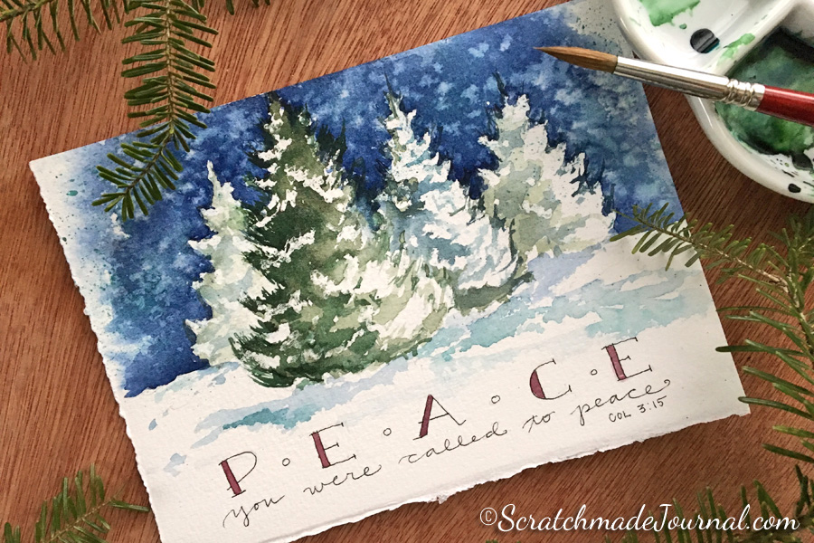 Handmade Watercolor Christmas Tree Snow Scene Card - ScratchmadeJournal.com