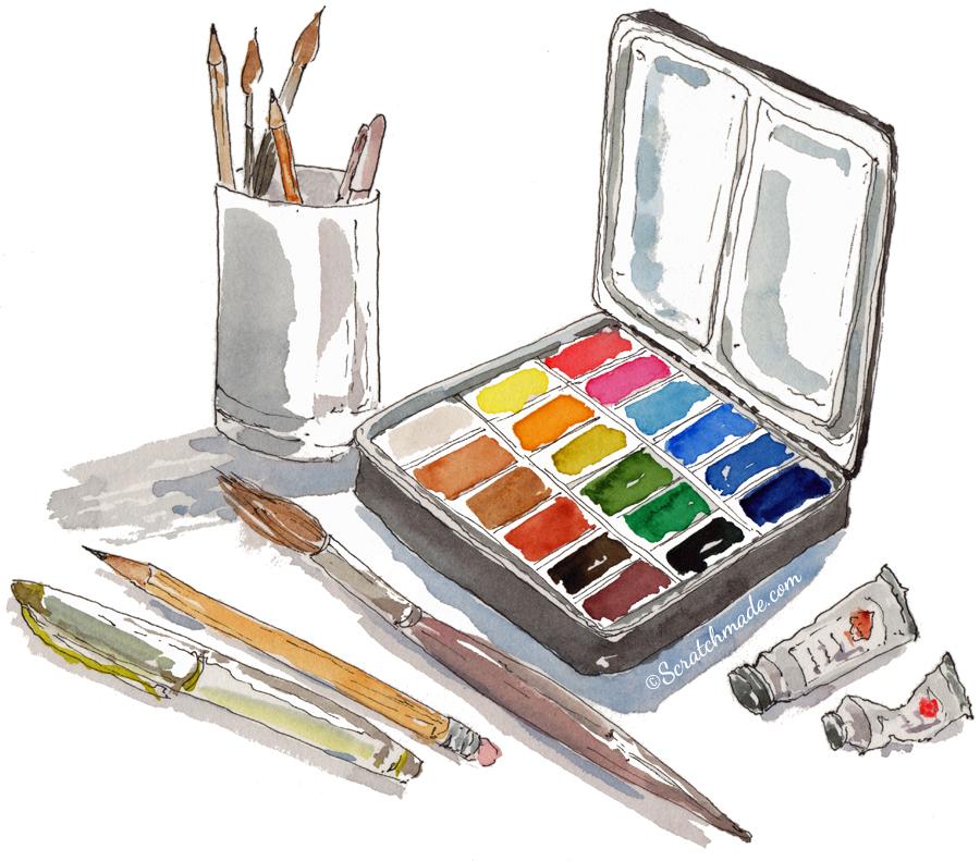 Art & watercolor supplies illustration doodle sketch - ScratchmadeJournal.com