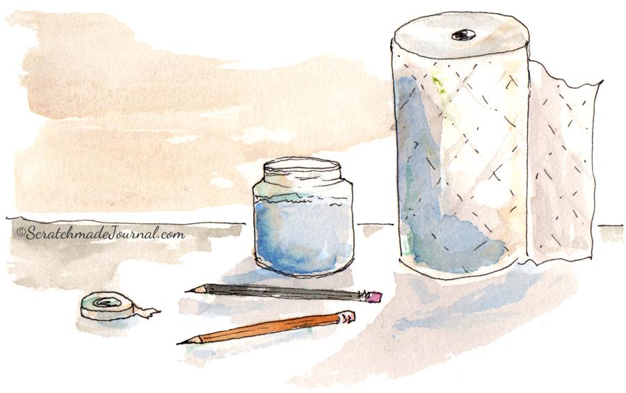Extra watercolor supplies sketch illustration - ScratchmadeJournal.com